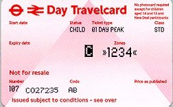 Travelcard 3 dagen 4 zones Anytime Kind
