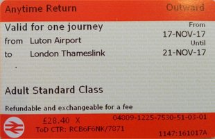 Luton - Londen St Pancras Retour