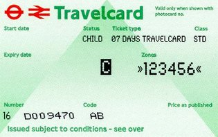 Travelcard 6 dagen 6 zones Anytime Kind