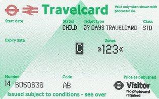 Travelcard 7 dagen 3 zones Anytime Kind