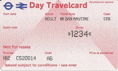 Travelcard 1 dag 4 zones Anytime