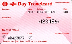 Travelcard 1 dag 6 zones off peak
