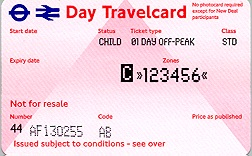 Travelcard 1 dag 6 zones off peak Kind