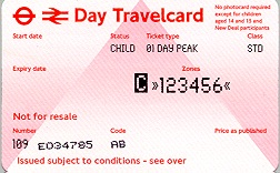 Travelcard 1 dag 6 zones Anytime Kind