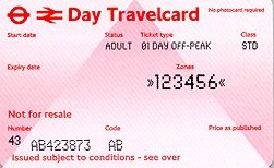 Travelcard 4 dagen 6 zones off peak