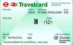 Travelcard 4 dagen 2 zones Anytime Kind