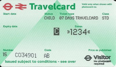 Travelcard 7 dagen 4 zones Anytime Kind