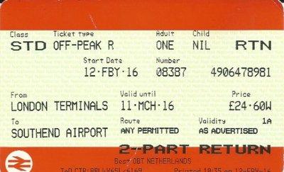 Southend - London Stratford Retour Anytime