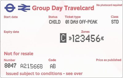 Group Day Travelcard 4 dagen t/m 15 jaar